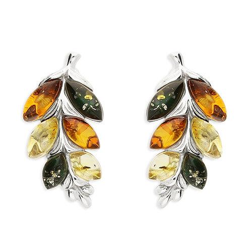 Silver multi amber leaf stud earrings