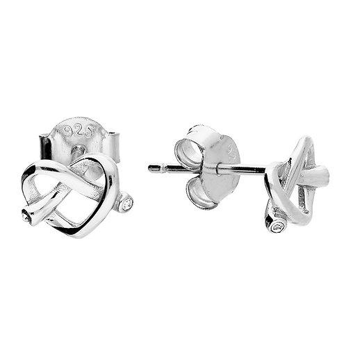 Silver & crystal heart pretzel studs