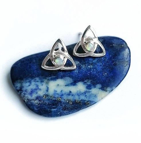 Silver & opalite celtic studs