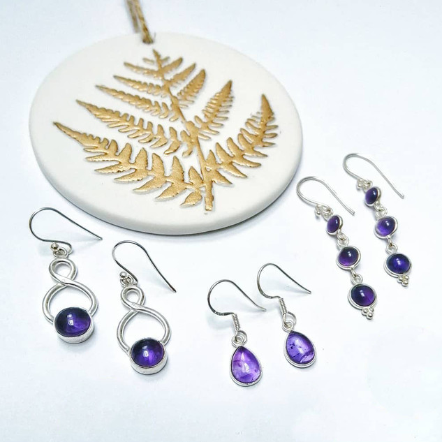 Silver & Amethyst drop earrings.