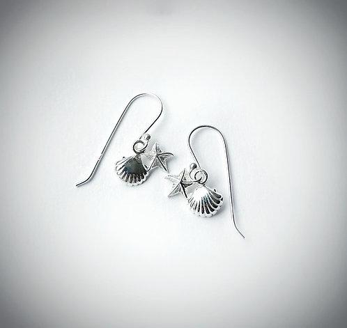 Silver mini shell & starfish earrings