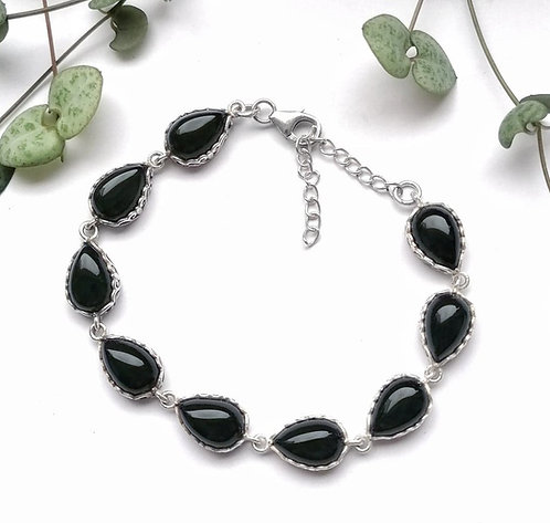 Silver & black onyx detailed bracelet