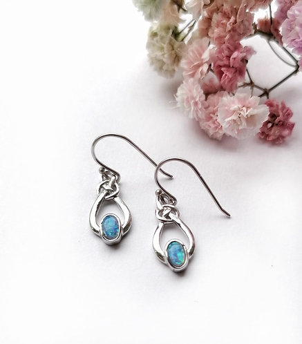 Silver & opalite knot drop earrings