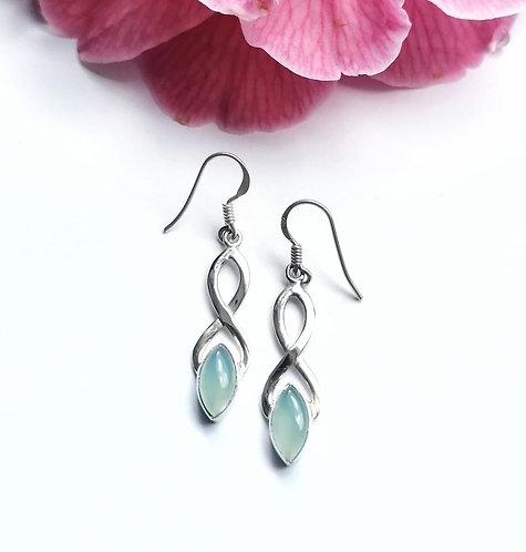 Silver & chalcedony loop earrings
