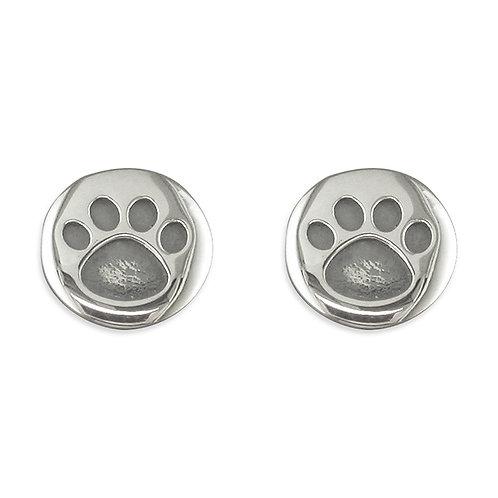 Silver round pawprint studs