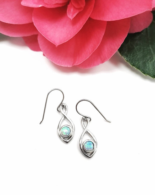 Silver & Opalite infinity twist earrings