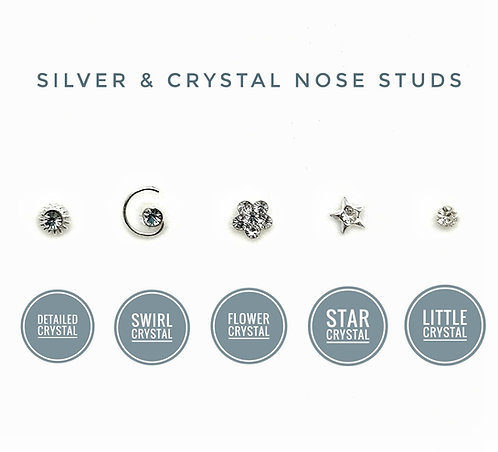 Silver single clear crystal nose stud