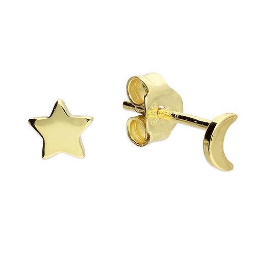 Silver & gold vermeil star & moon studs