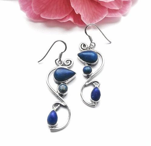 Silver & triple lapis lazuli swirl detail earrings