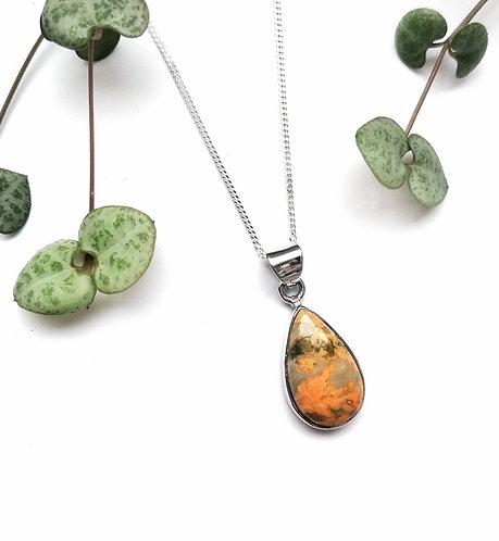 Silver bumblebee jasper raindrop necklace