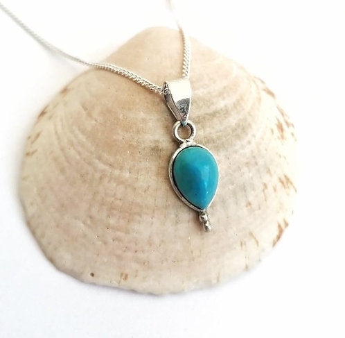 Silver & Turquoise detail drop necklace