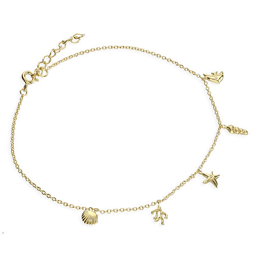 Silver & gold vermeil under the sea anklet