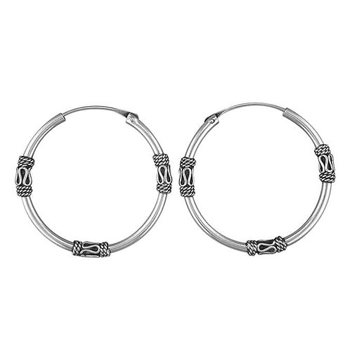 Silver Bali triple detail sleeper hoops