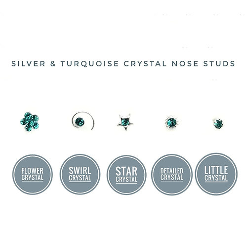 Silver single turquoise crystal nose stud