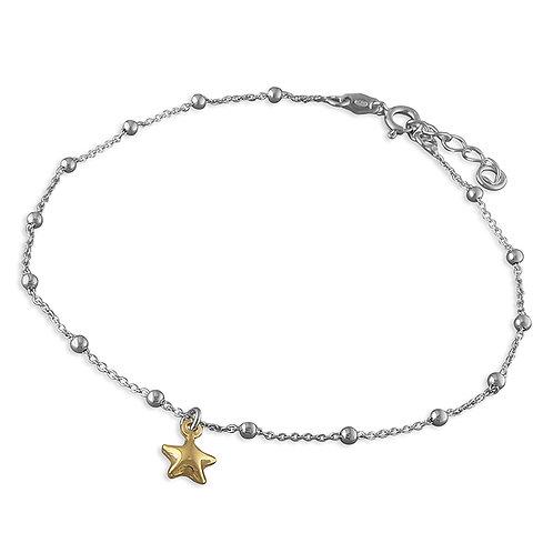 Silver & gold vermeil star anklet