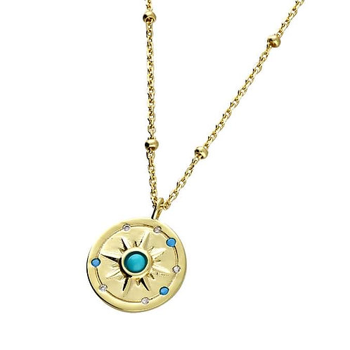 Silver & gold vermeil turquoise sunburst necklace