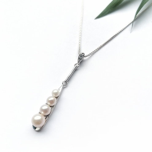 Silver & pearl long pendant necklace