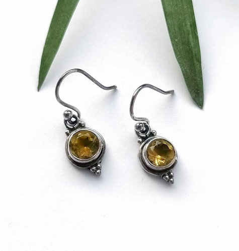 Silver & citrine detailed drop earrings