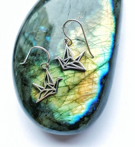 Silver origami crane earrings