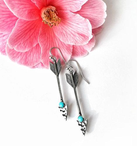 Silver & turquoise arrow earrings