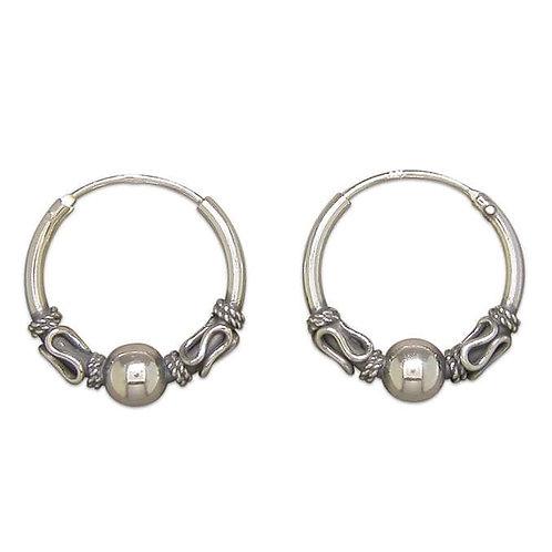 Silver Bali swirl & ball hoops