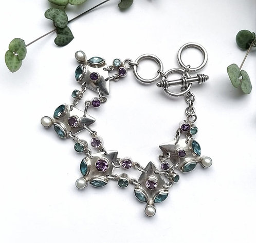 Silver gorgeous multi gemstone bracelet
