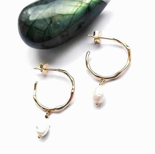 Silver & gold vermeil pearl stud hoops