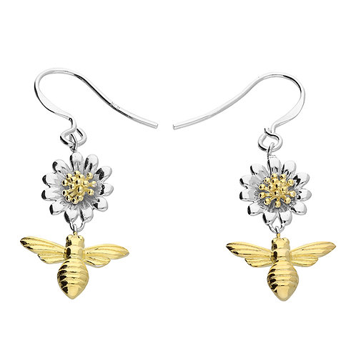 Silver & gold vermeil daisy bee earrings