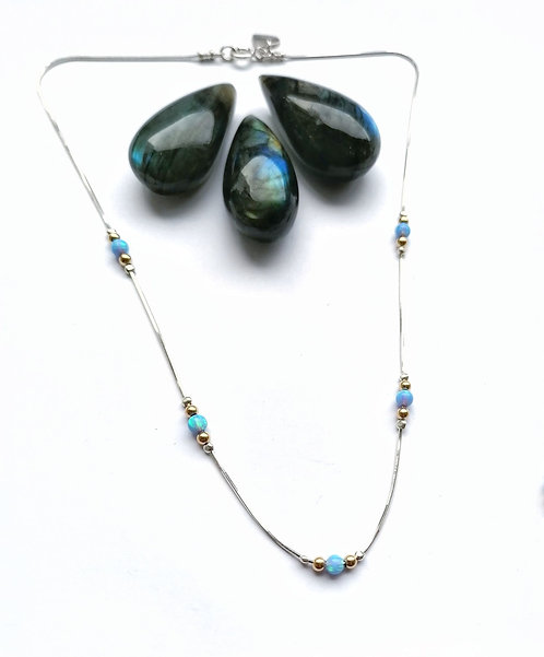 Silver & gold opalite detail necklace