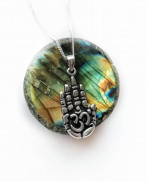 Silver Ohm Hamsa hand necklace