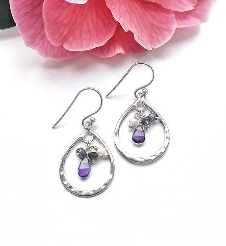 Silver pearl, amethyst & apatite gemstone earrings