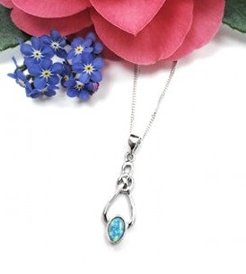 Silver & opalite knot necklace