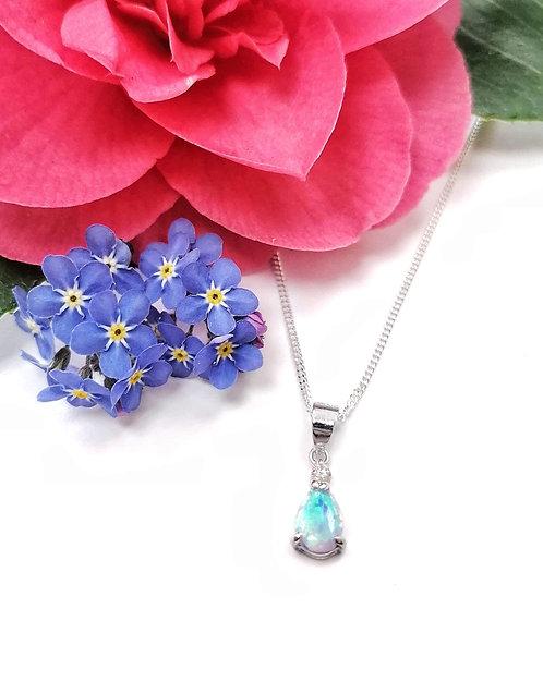Silver & opalite Crystal drop necklace