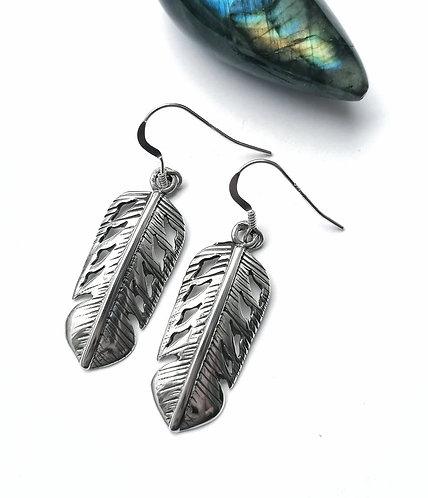 Silver Navajo feather earrings