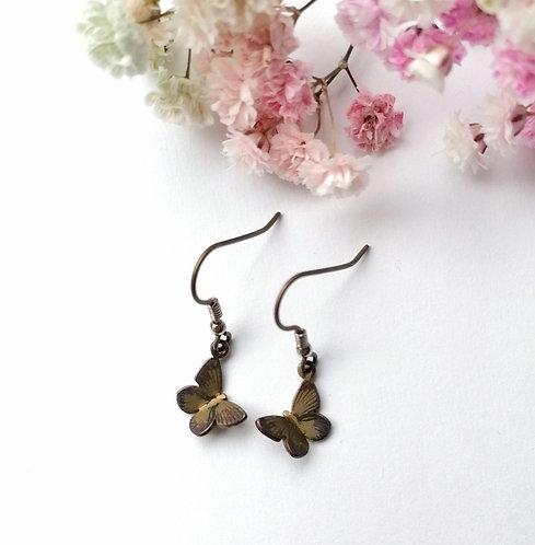 Titanium butterfly tawny earrings