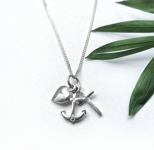 Silver cross, anchor & heart necklace