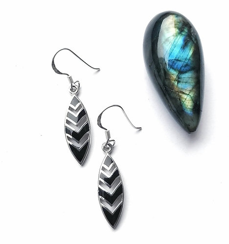 Silver & black onyx chevron earrings