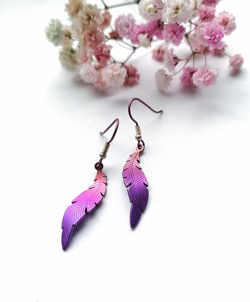 Titanium purple & pink feather earrings