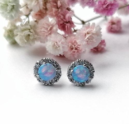 Silver opalite crystal encrusted stud earrings
