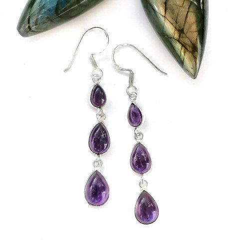 Silver triple teardrop decadent amethyst earrings