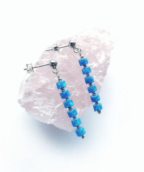 Silver & opalite multi section earrings