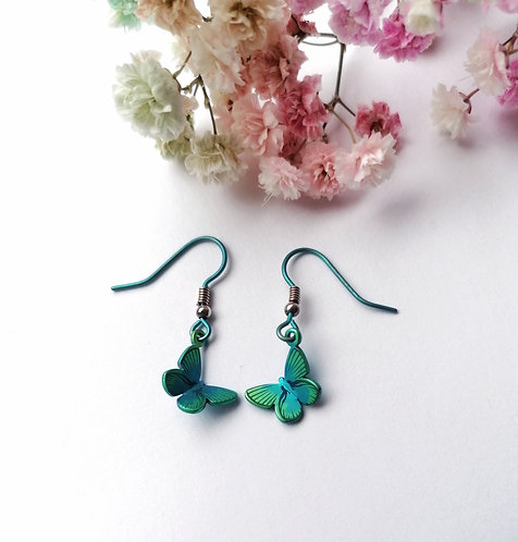 Titanium butterfly green earrings