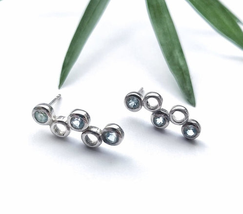 Silver & Blue Topaz stud earrings