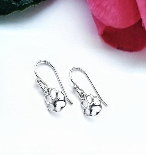 Silver little paw print earrings