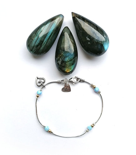Silver & gold, opalite detail bracelet