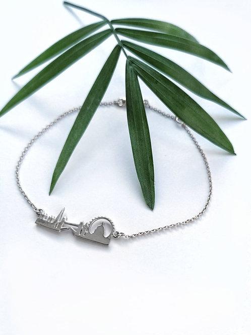 Silver london skyline fine bracelet