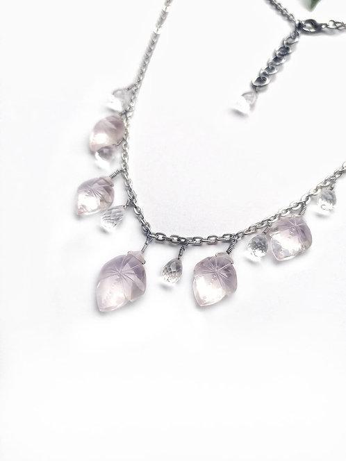 Silver faceted quartz & rose quartz necklace