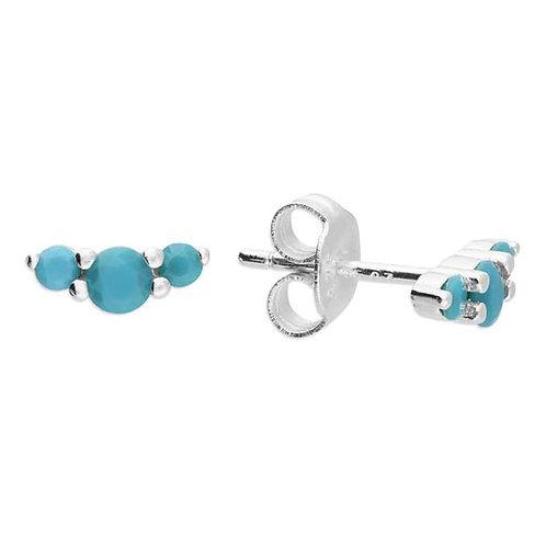 Silver & turquoise Crystal triple stud earrings