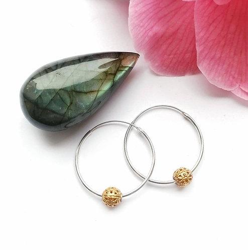 Silver & gold vermeil medium bead detail hoop earrings