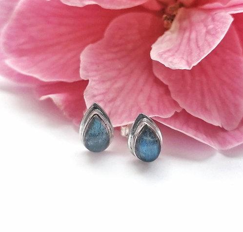 Silver & Labradorite teardrop stud earrings